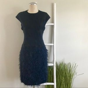 Worth | Navy & Black Feather Skirt Cocktail Dress